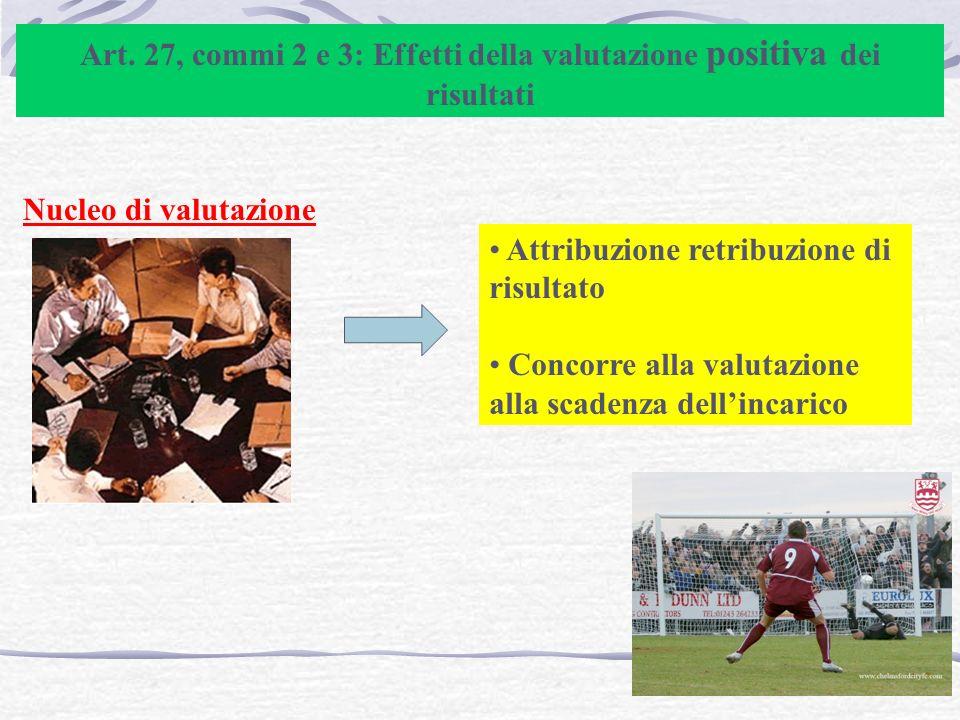 Art. 27, commi 2 e 3: Effetti della valutazione positiva dei risultati