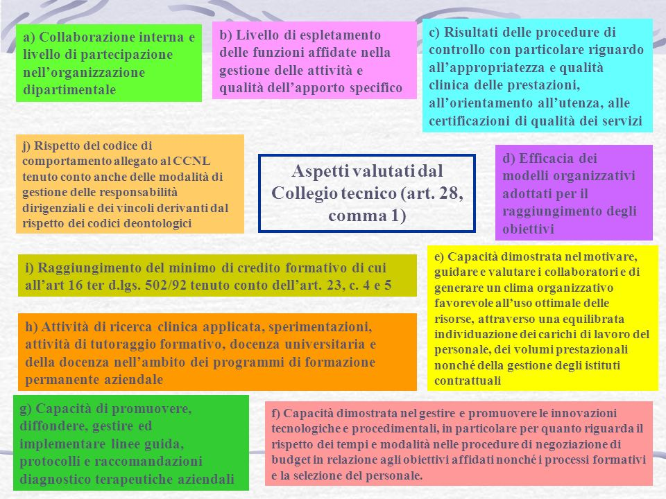 Aspetti valutati dal Collegio tecnico (art. 28, comma 1)