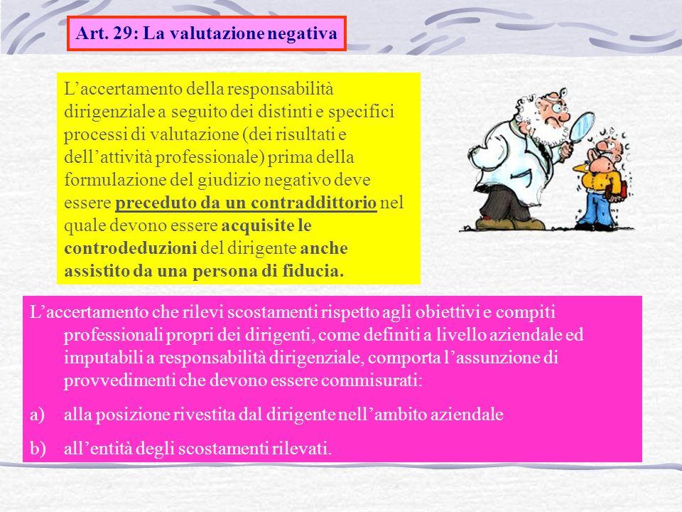 Art. 29: La valutazione negativa
