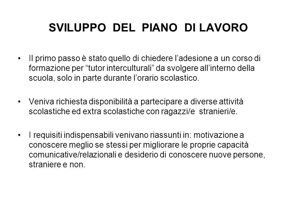 SVILUPPO DEL PIANO DI LAVORO