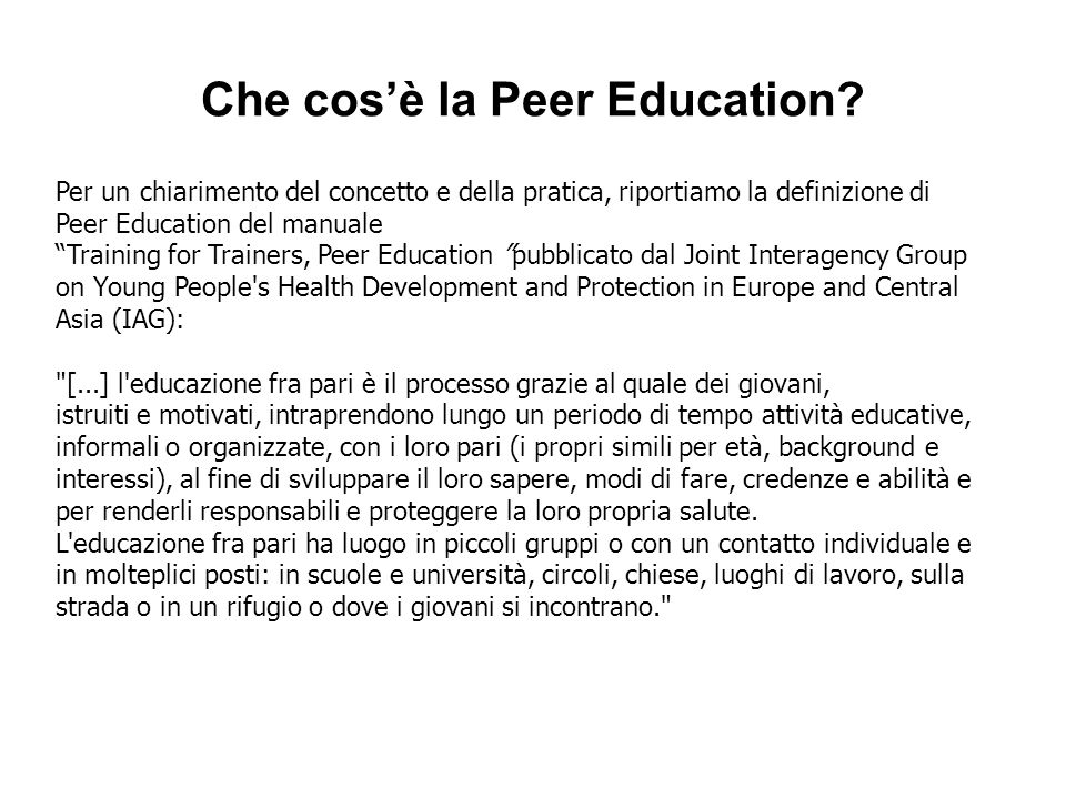 Che cos'è la Peer Education