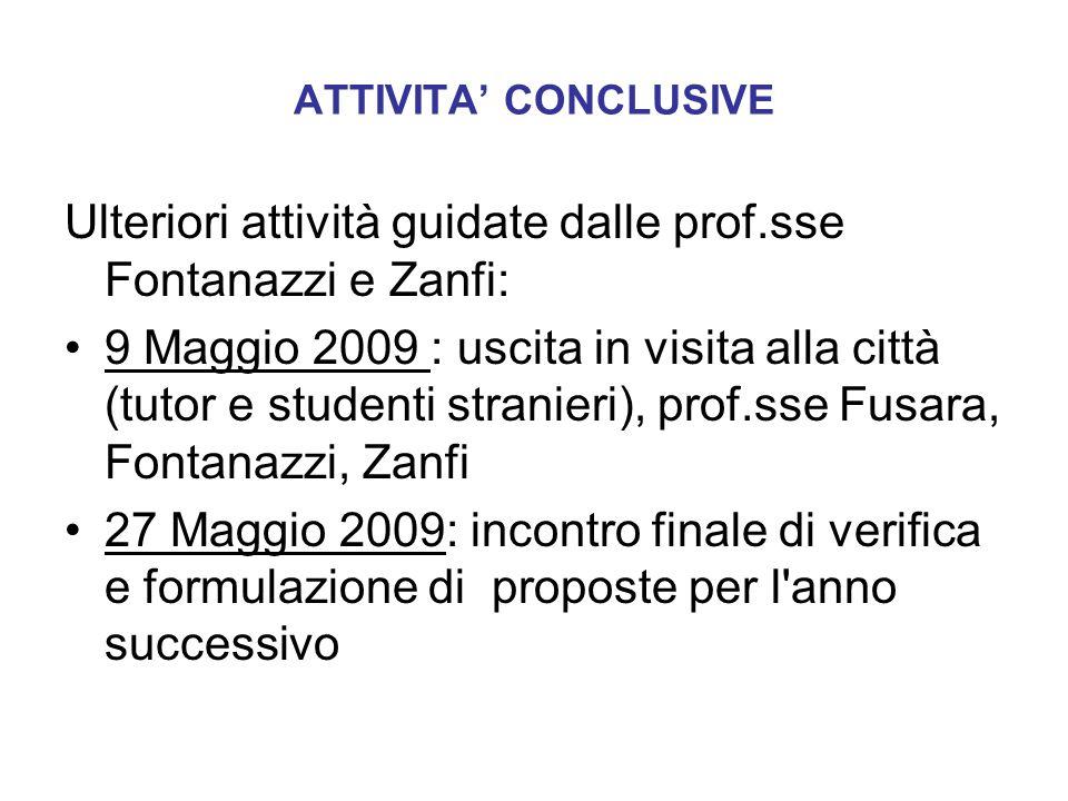 Ulteriori attività guidate dalle prof.sse Fontanazzi e Zanfi: