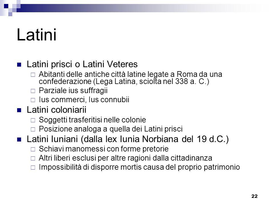 Latini Latini prisci o Latini Veteres Latini coloniarii