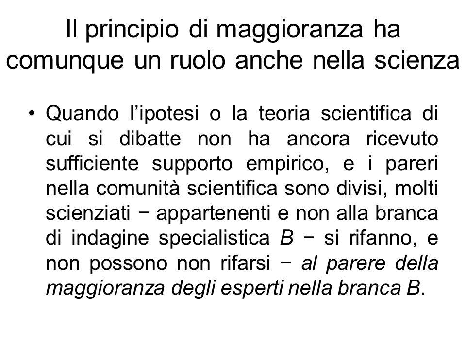 Il principio di maggioranza ha comunque un ruolo anche nella scienza