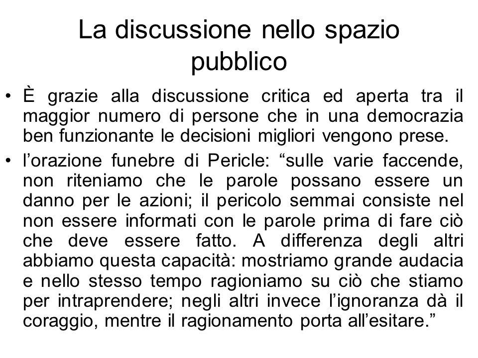 La discussione nello spazio pubblico