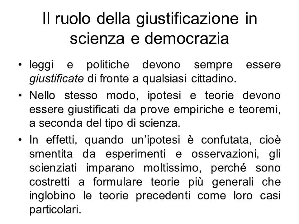 Il ruolo della giustificazione in scienza e democrazia
