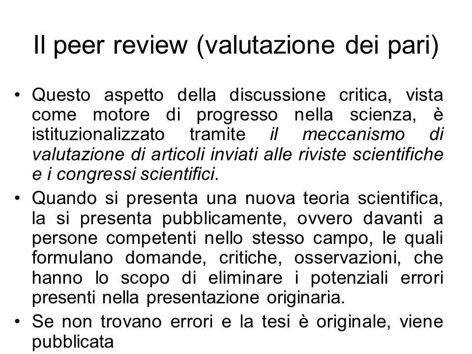 Il peer review (valutazione dei pari)