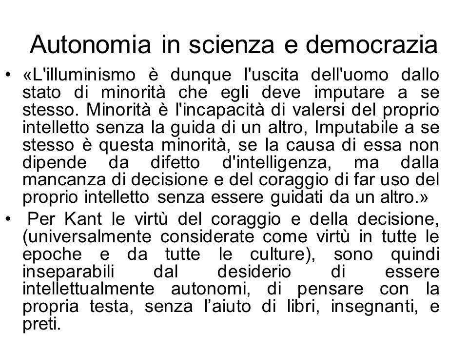 Autonomia in scienza e democrazia
