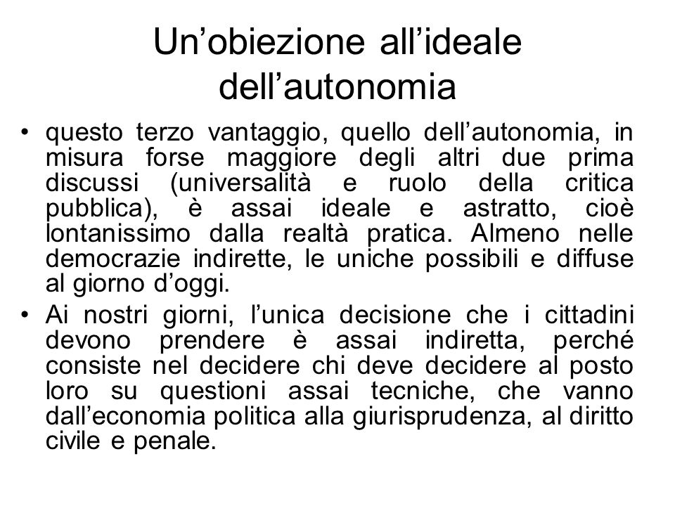 Un'obiezione all'ideale dell'autonomia