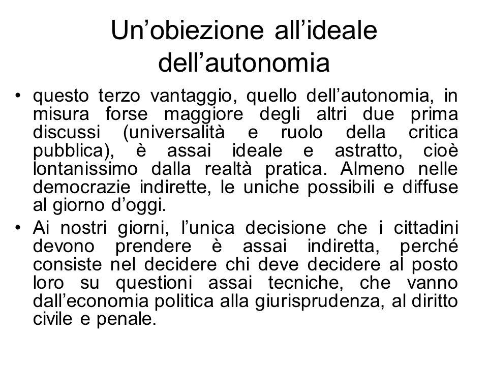 Un'obiezione all'ideale dell'autonomia