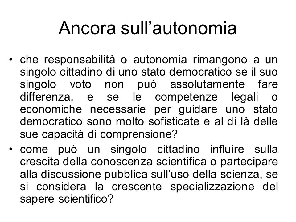 Ancora sull'autonomia