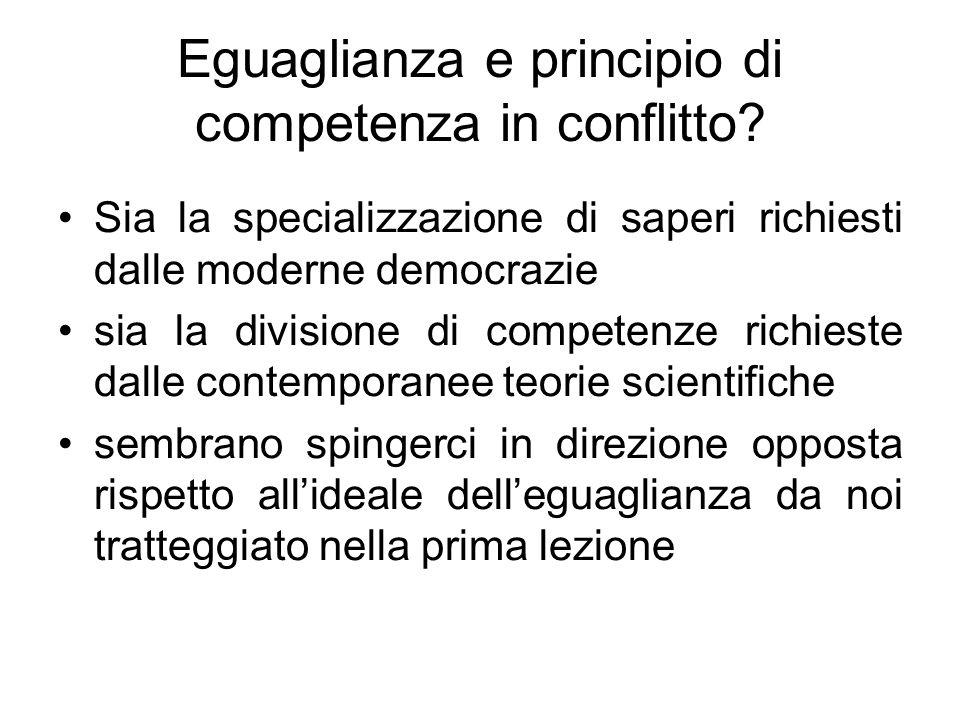 Eguaglianza e principio di competenza in conflitto