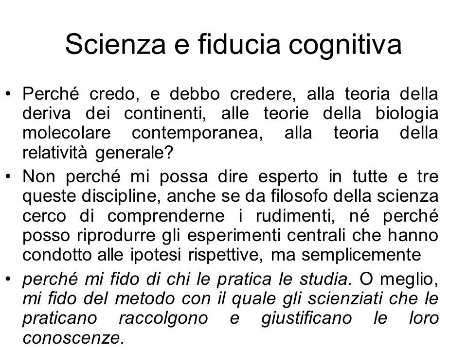 Scienza e fiducia cognitiva
