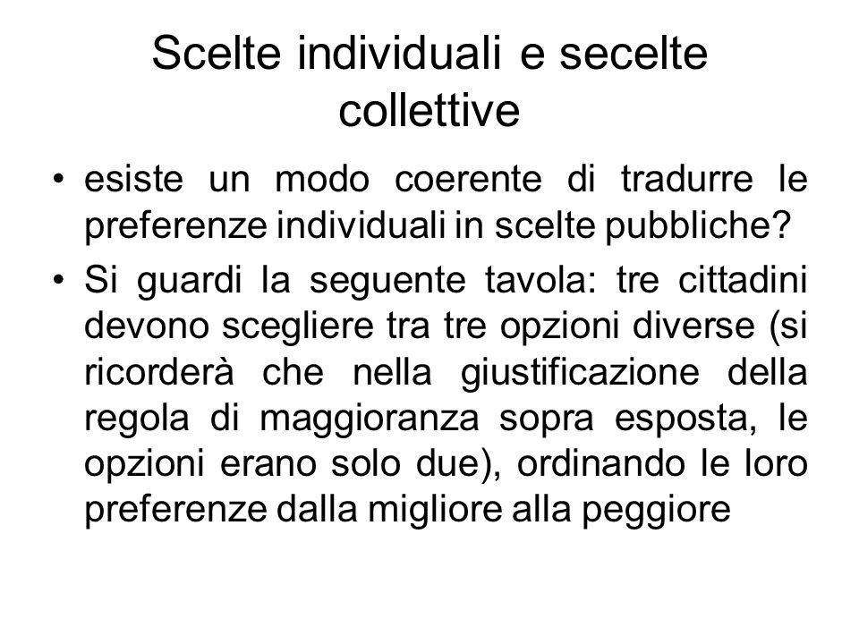 Scelte individuali e secelte collettive