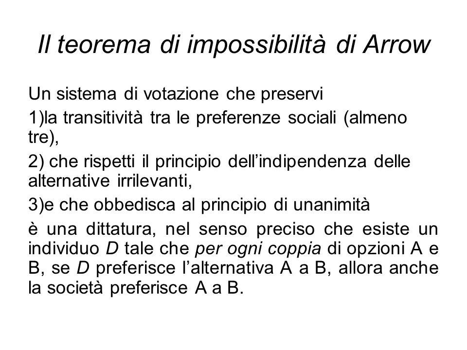 Il teorema di impossibilità di Arrow