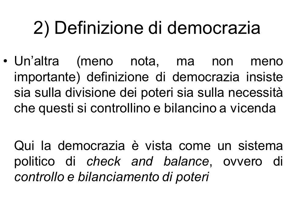 2) Definizione di democrazia