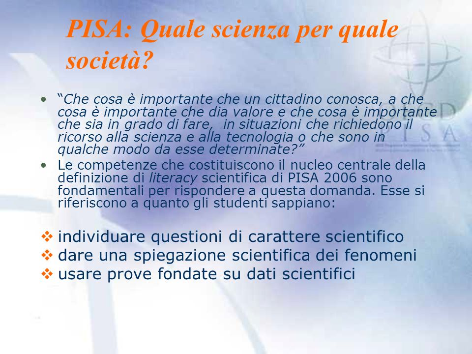 PISA: Quale scienza per quale società
