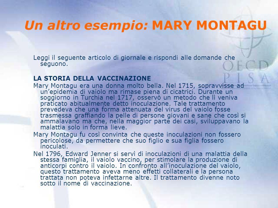 Un altro esempio: MARY MONTAGU