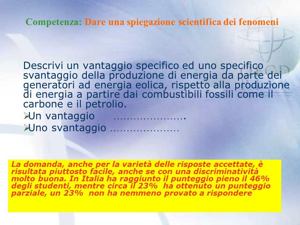 Competenza: Dare una spiegazione scientifica dei fenomeni