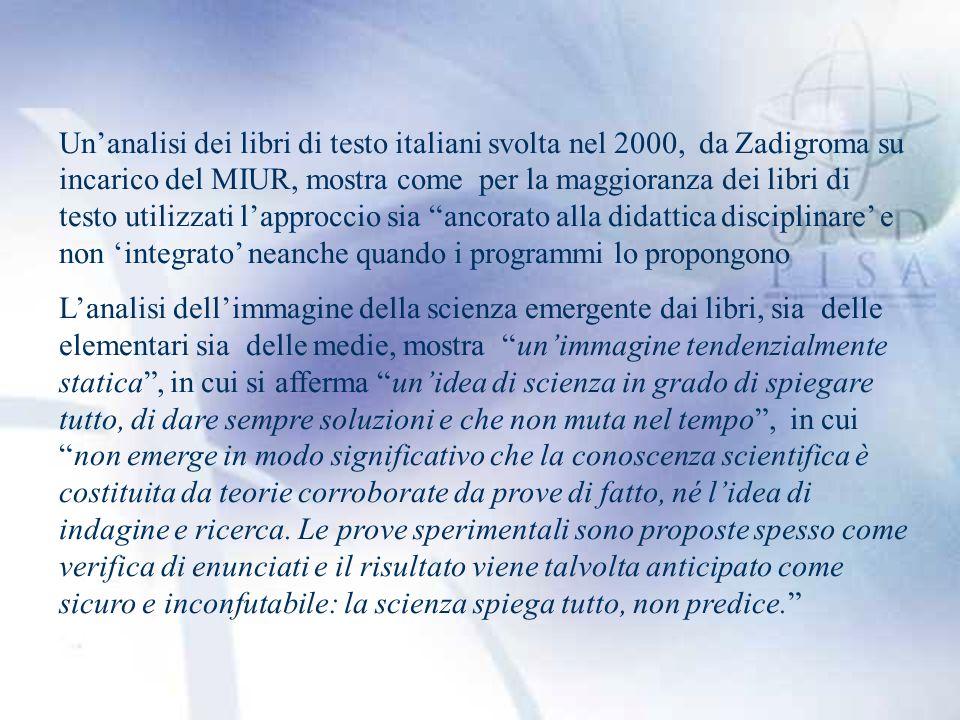 Un'analisi dei libri di testo italiani svolta nel 2000, da Zadigroma su incarico del MIUR, mostra come per la maggioranza dei libri di testo utilizzati l'approccio sia ancorato alla didattica disciplinare' e non 'integrato' neanche quando i programmi lo propongono