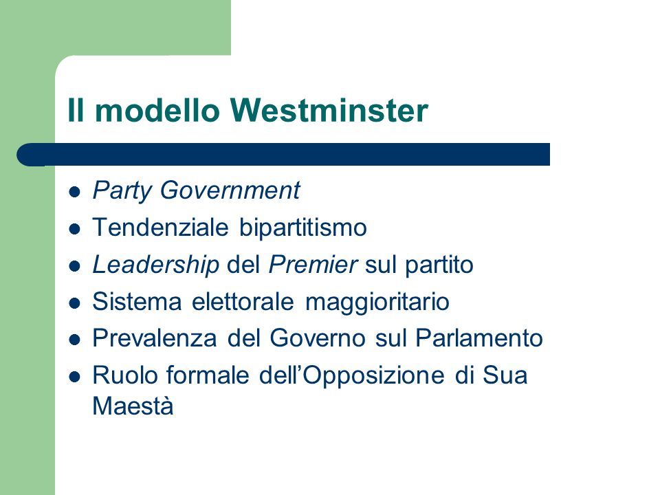 Il modello Westminster