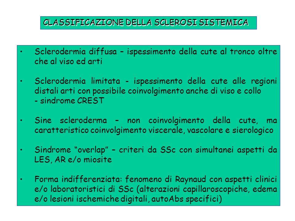 CLASSIFICAZIONE DELLA SCLEROSI SISTEMICA