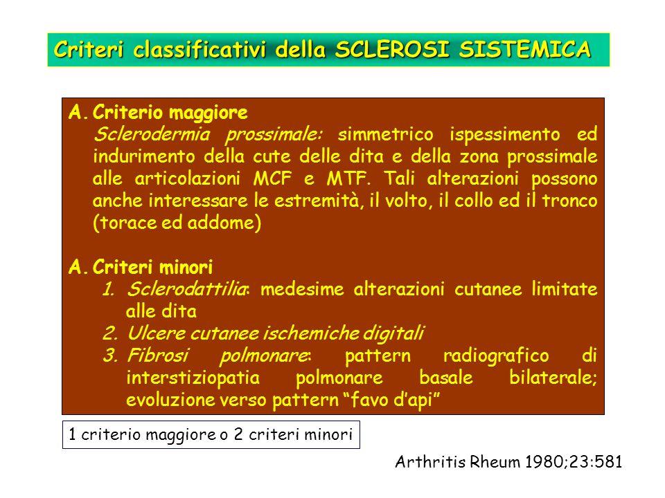 Criteri classificativi della SCLEROSI SISTEMICA