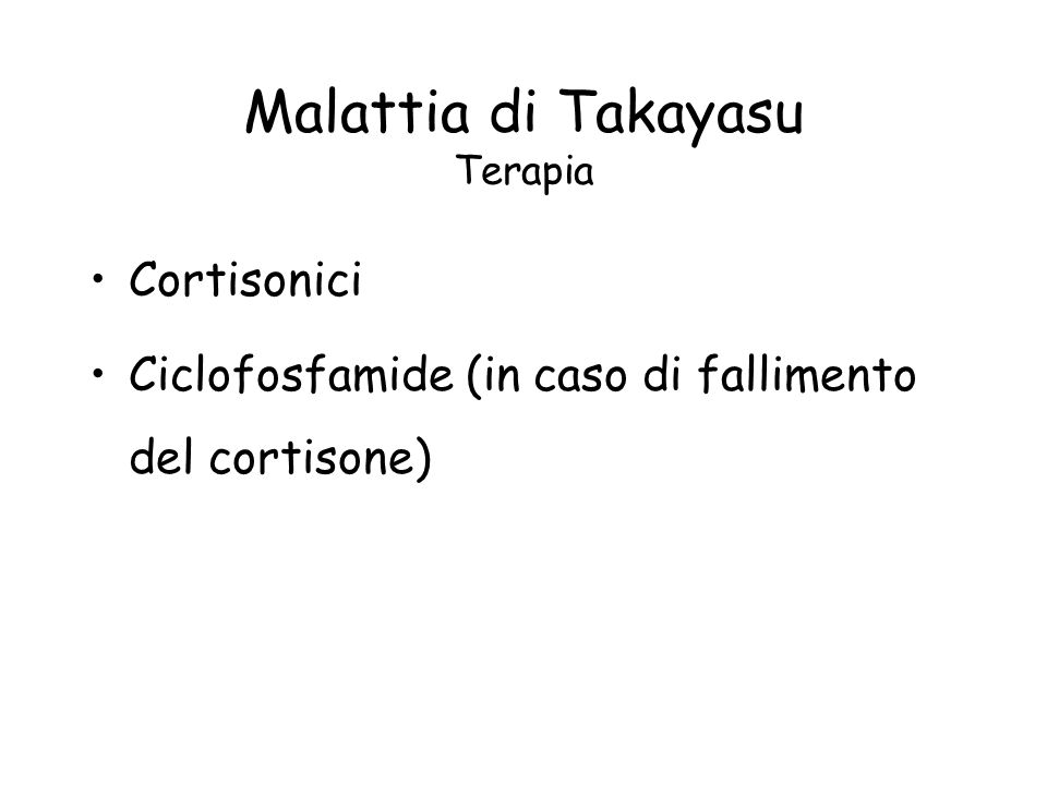 Malattia di Takayasu Terapia
