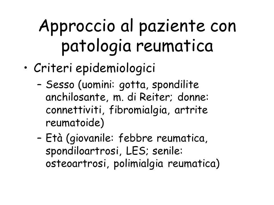 Approccio al paziente con patologia reumatica