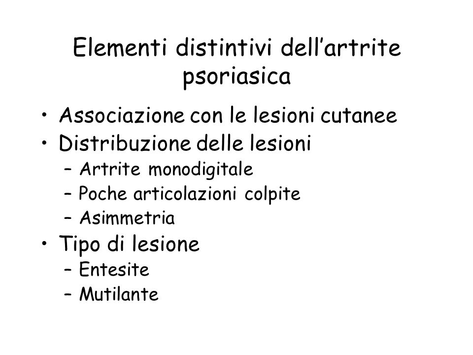 Elementi distintivi dell'artrite psoriasica