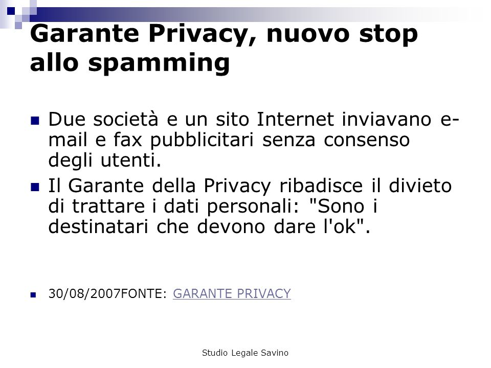 Garante Privacy, nuovo stop allo spamming