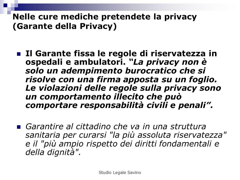 Nelle cure mediche pretendete la privacy (Garante della Privacy)