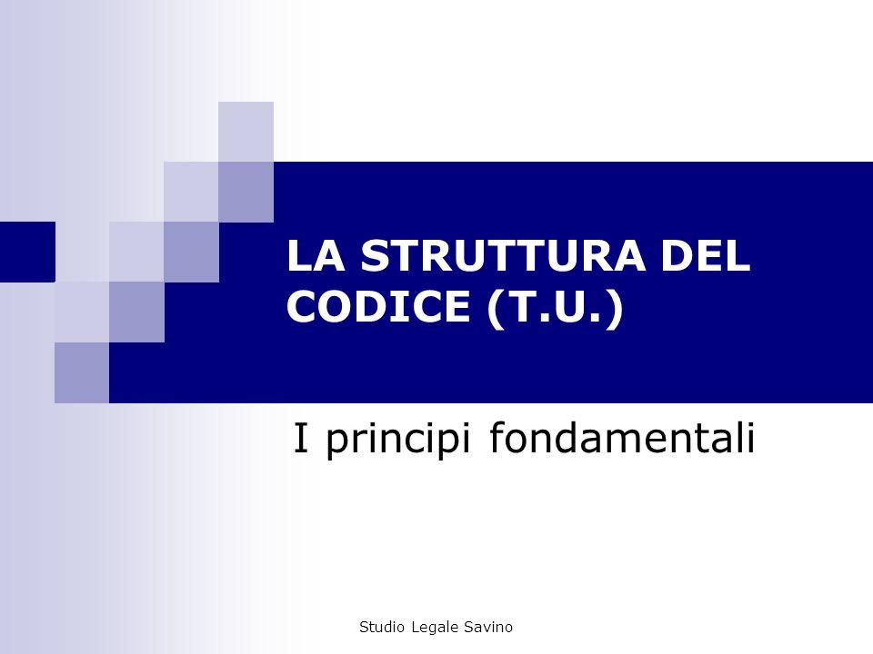 LA STRUTTURA DEL CODICE (T.U.)