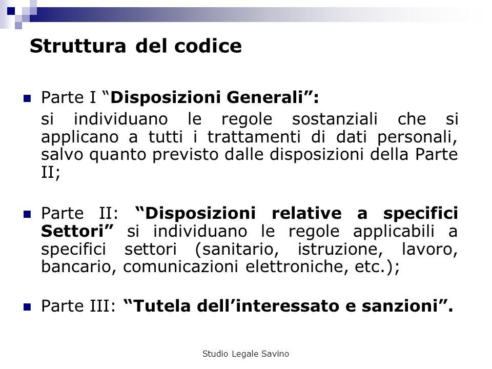 Struttura del codice Parte I Disposizioni Generali :