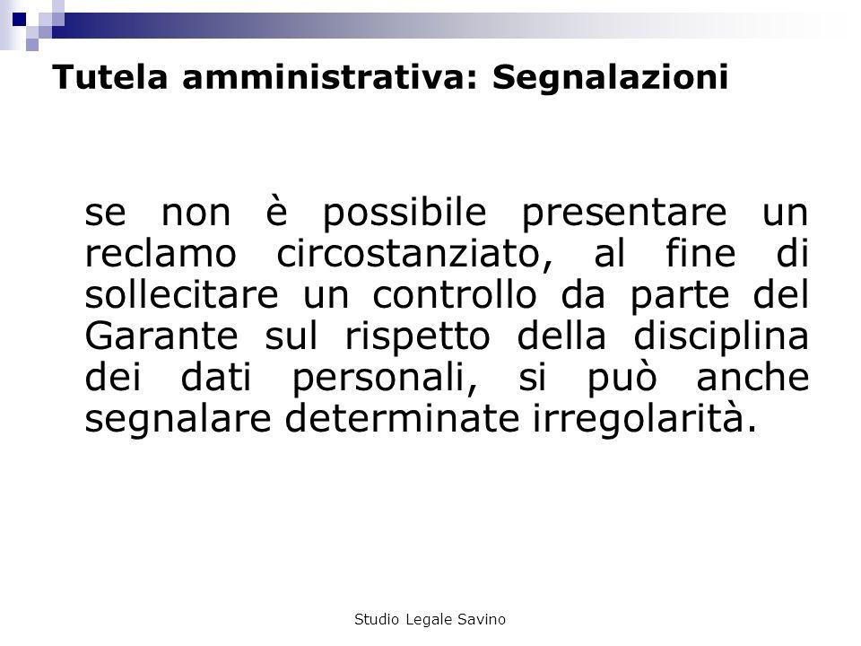 Tutela amministrativa: Segnalazioni