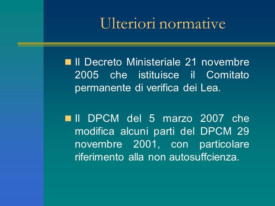 Ulteriori normative Il Decreto Ministeriale 21 novembre 2005 che istituisce il Comitato permanente di verifica dei Lea.