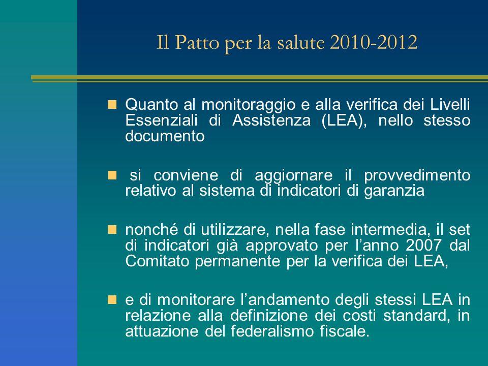 Il Patto per la salute 2010-2012 Quanto al monitoraggio e alla verifica dei Livelli Essenziali di Assistenza (LEA), nello stesso documento.