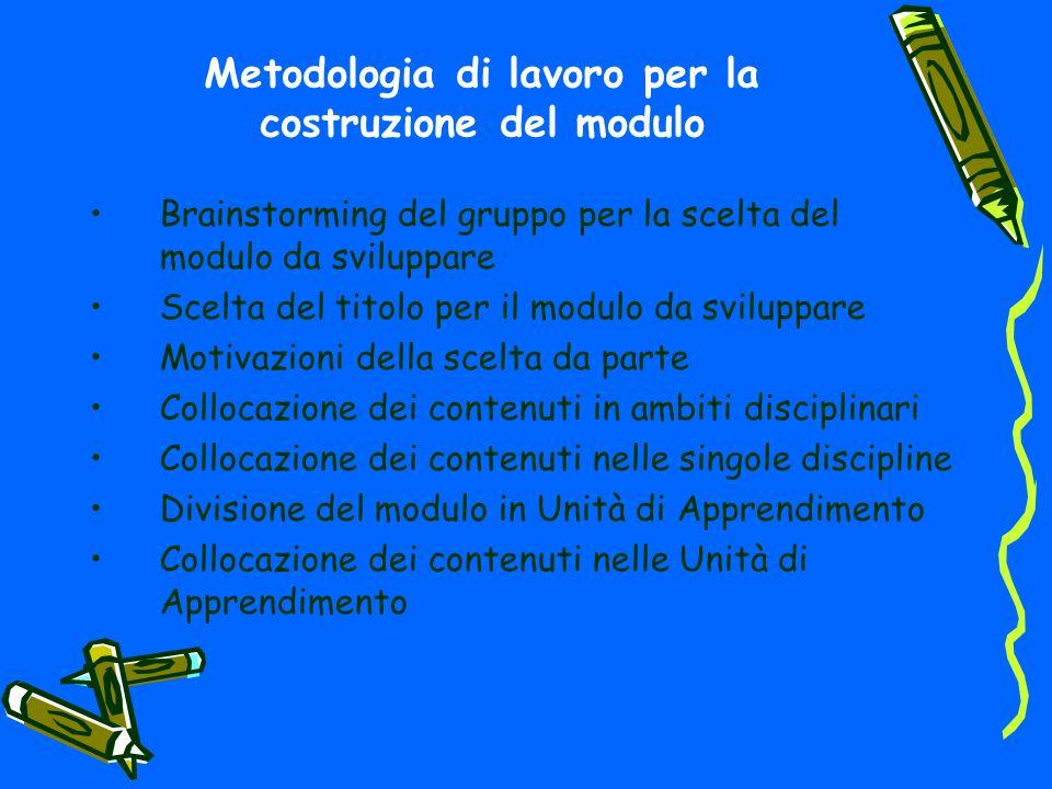 Metodologia di lavoro per la costruzione del modulo