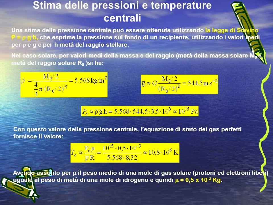 Stima delle pressioni e temperature centrali