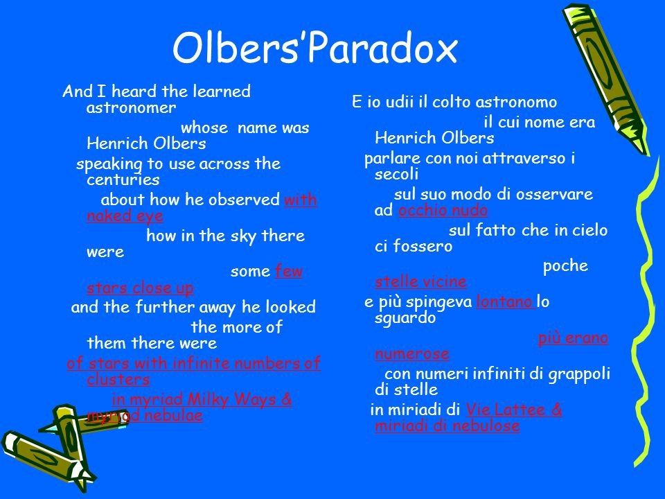 Olbers'Paradox And I heard the learned astronomer