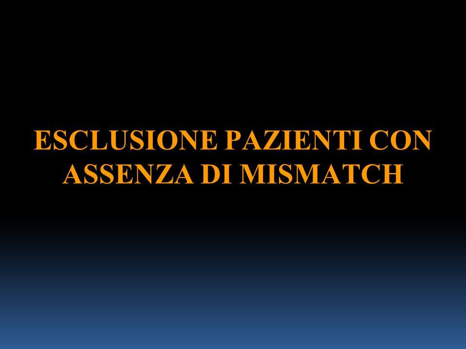 ESCLUSIONE PAZIENTI CON ASSENZA DI MISMATCH
