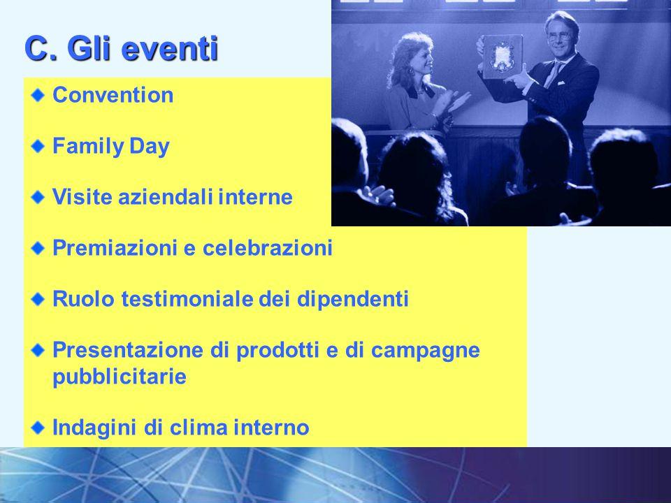 C. Gli eventi Convention Family Day Visite aziendali interne