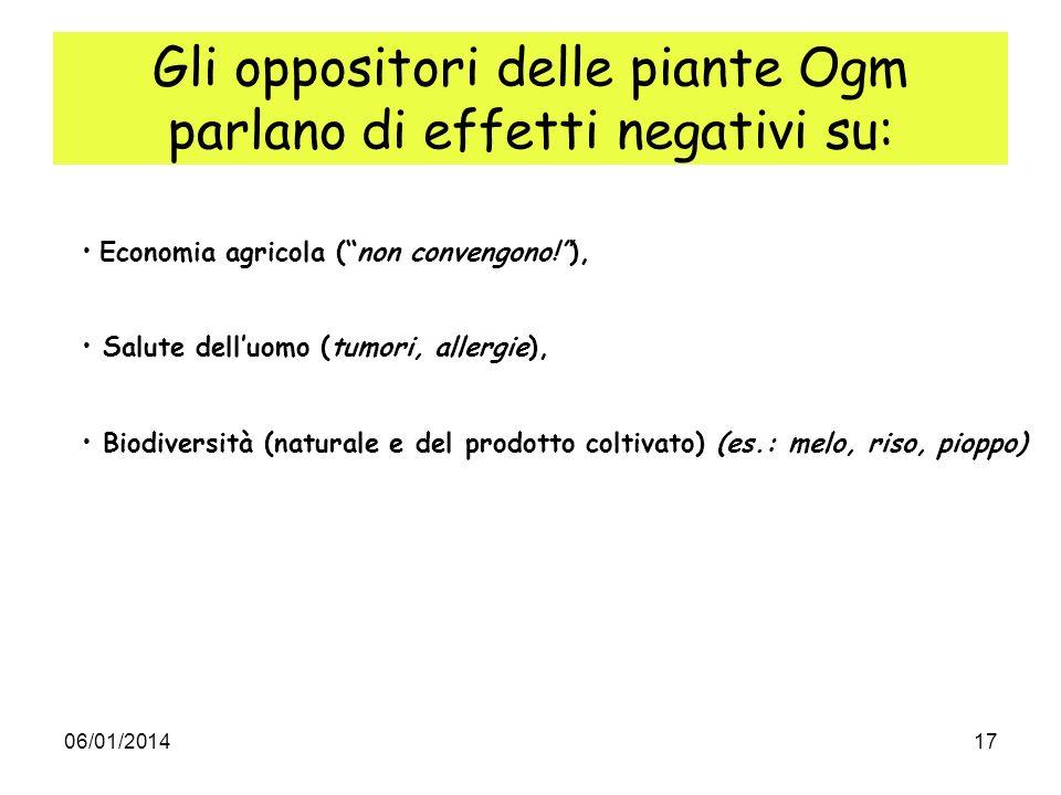 Gli oppositori delle piante Ogm parlano di effetti negativi su: