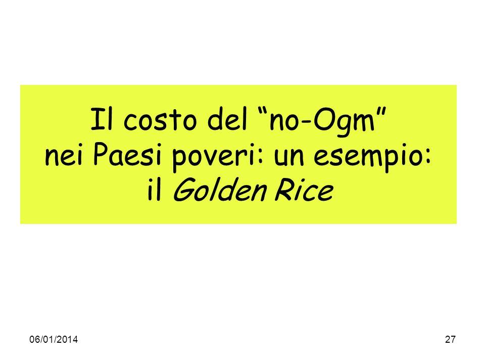 Il costo del no-Ogm nei Paesi poveri: un esempio: il Golden Rice