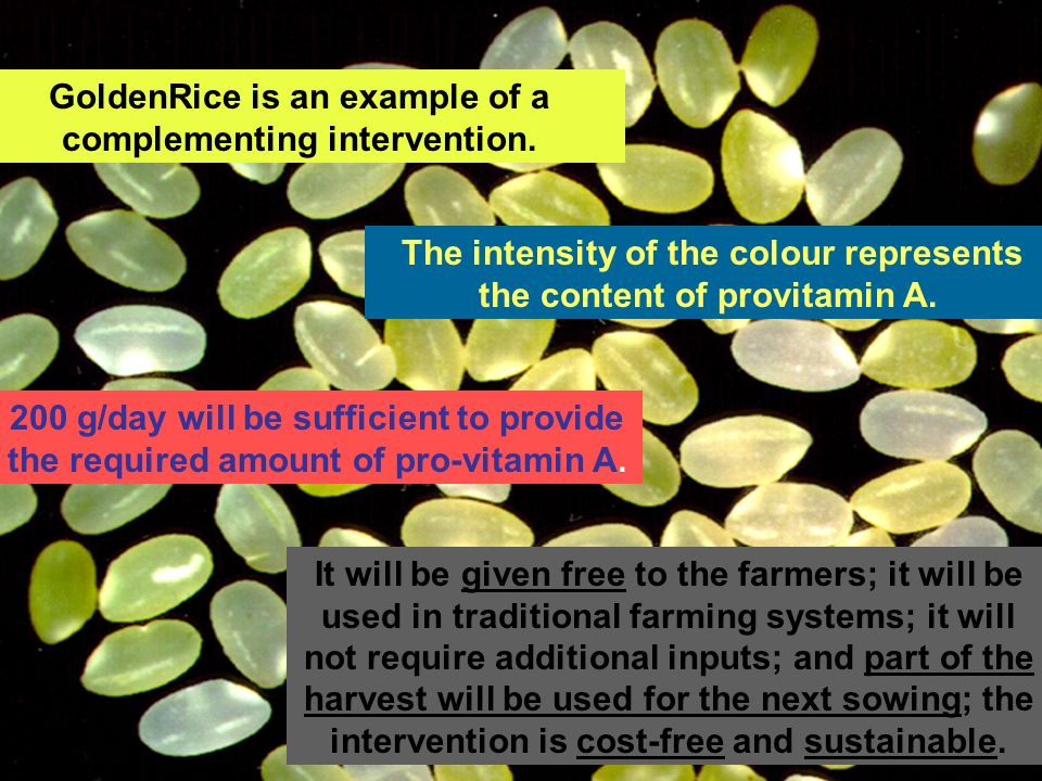 GoldenRice is an example of a complementing intervention.