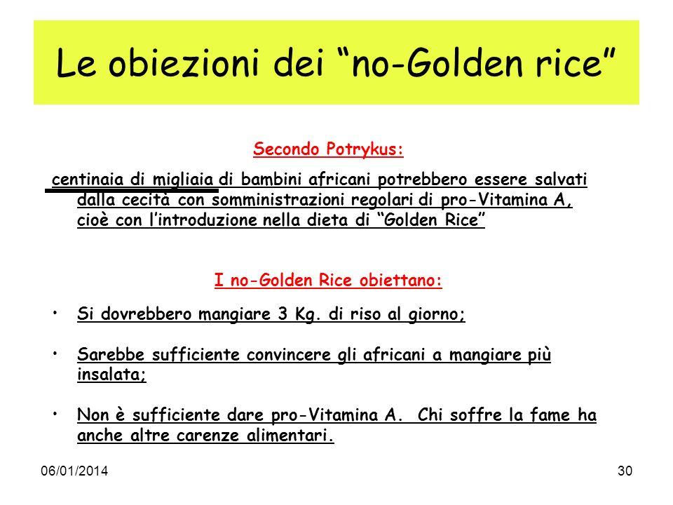 Le obiezioni dei no-Golden rice
