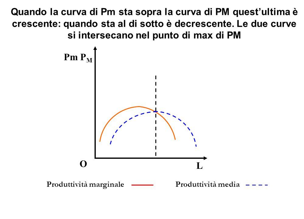 Quando la curva di Pm sta sopra la curva di PM quest'ultima è crescente: quando sta al di sotto è decrescente. Le due curve si intersecano nel punto di max di PM
