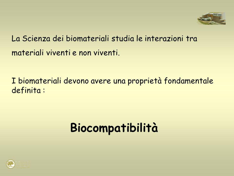 Biocompatibilità La Scienza dei biomateriali studia le interazioni tra
