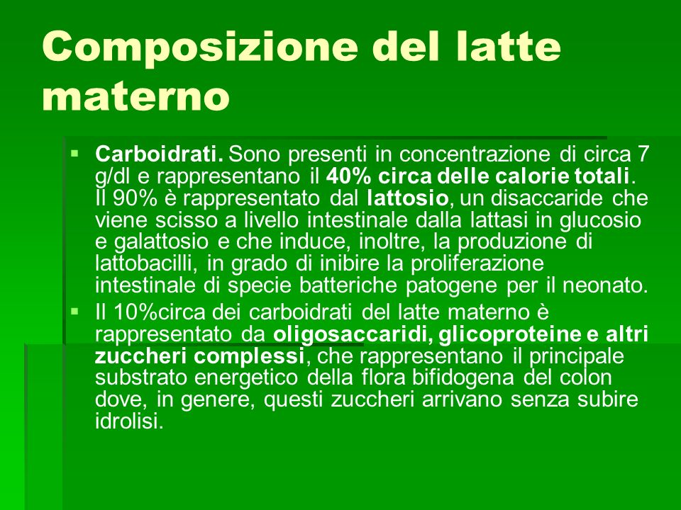 Composizione del latte materno