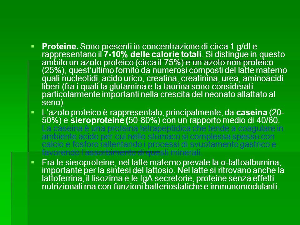 Proteine. Sono presenti in concentrazione di circa 1 g/dl e rappresentano il 7-10% delle calorie totali. Si distingue in questo ambito un azoto proteico (circa il 75%) e un azoto non proteico (25%), quest'ultimo fornito da numerosi composti del latte materno quali nucleotidi, acido urico, creatina, creatinina, urea, aminoacidi liberi (fra i quali la glutamina e la taurina sono considerati particolarmente importanti nella crescita del neonato allattato al seno).